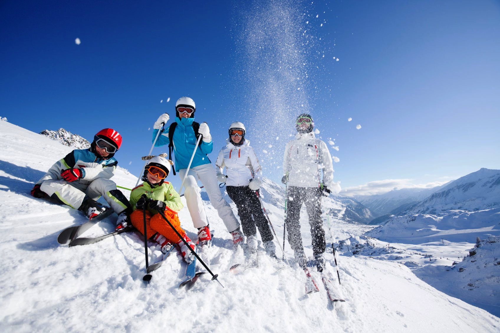 happy skiing group